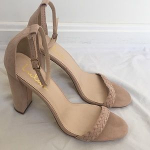 Lulu's tan suede heeled sandals